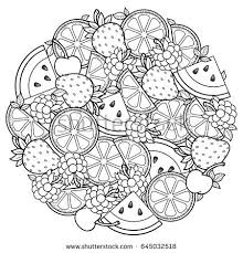 Vector Coloring Book For Adult Meditation And Relax Round Shape Of Watermelon