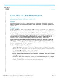 Cisco SPA112 Data Sheet | Voice Over Ip | Session Initiation Protocol