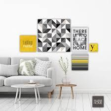 leinwandbilder lieblingsfarbe yellow grau gelb 5 teiliges set