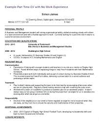 Resume For 1st Job Student Template First Part Time