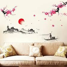 sonnenuntergang hill chinesischen wandaufkleber wohnzimmer tv wand sofa hintergrund chinesische kalligraphie kreative gemütliches schlafzimmer