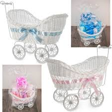 Details About LARGE WICKER PRAM BASKET GIFT HAMPER GIRLS BOYS NEW BORN BABY SHOWER PARTY