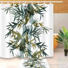 großhandel 3d aquarell bambus print muster dekorationen wasserdicht badezimmer dekor stoff duschvorhänge fußmatten setzt paintingart2017