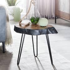 wohnling beistelltisch akazie massivholz metall industrial 40x40x32cm baumkante wohnzimmertisch sofatisch massiv haarnadelbeine kleiner