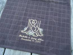Items Similar To Personalized Kitchen Towel With Carved Tree Monogram