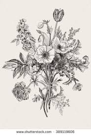 Victorian bouquet Spring Flowers Poppy anemones tulips delphinium Vintage botanical illustration Vector design element Black and white