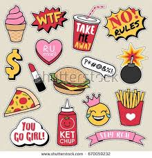 Set Of Fashion Patches Cute Colorful Badges Fun Cartoon Fast Foods Icons Design Vector
