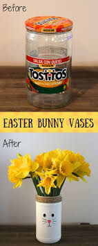 Before And After DIY Easter Bunny Vases From Recycled Jars
