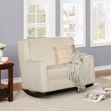 Naomi Home Elaina 2-Seater Rocker, Cream, Microfiber