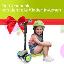 yoleo kinderscooter kinder roller mit led leuchtenden räder dreiradscooter 4 höhenverstellbare für jungen mädchen im alter 3 12 jahren bis
