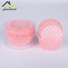100pcs Lot Pink Color Polka Dot Paper Cake Liner Standard