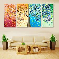 Arte De La Pared Pintura Lona Del Paisaje Pictures Living Room Decor 4 Unidades
