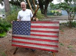 Giant Size Wooden American Flag 3x5 Foot Beauty Coming In At 50 Pounds Distressed Rustic Antiqued Folk Art On Salvaged Barnwood