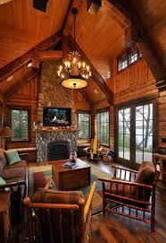 Rustic Style Living Room Designs With Vaulted Ceilings And Stone Fireplace Ideas