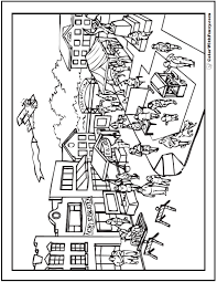 Home Town Adult Coloring Page