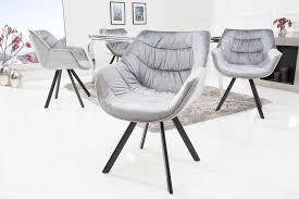 esszimmerstuhl samt grau mit armlehne retro look dunord design