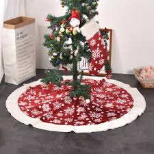 Hot Sales Red Handmade Flower Lace Christmas Tree Skirt Decoration