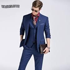 Blazer Pants VestFashion Plaid Modern Suits For Men 3 Pieces Wedding
