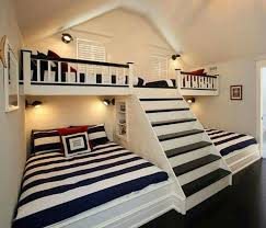 Shared Kids Room Idea Great To Have A Dedicated Sleeping Side With Extra Bunks For Sleepovers Could Also Make Stairs Drawers Added Storage And