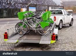 New Bicycles Green Accessories Being Transported Stock Photo (Edit ...
