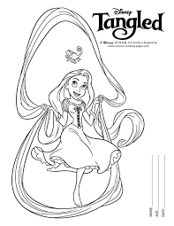 Rapunzel Coloring Pages Black White