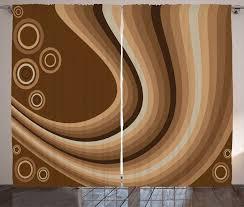 gardine schlafzimmer kräuselband vorhang mit schlaufen und haken abakuhaus braun abstrakte gewellte linien retro kaufen otto