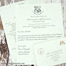 Personalised Hogwarts Acceptance Letter Harry Potter Store