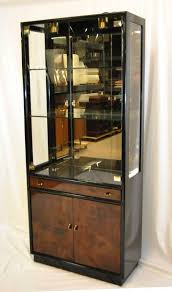 Henredon Walnut China Cabinet by Black Lacquer With Myrtle Burl Fronts Display Cabinet Henredon
