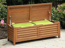 Wooden Bench Storage Image Waterproof Storage Benches Outside