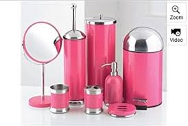 8 piece bathroom accessories set pink amazon co uk kitchen home