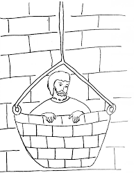 Paul Escapes In A Basket Coloring Page Link To Bible Story Saul