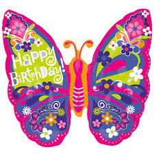 "25"" Happy Birthday Beautiful Butterfly SuperShape Foil Balloon"