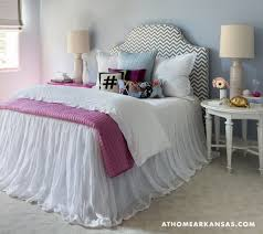 Awesome Gray Chevron Headboard And Tulle Bed Skirt Contemporary