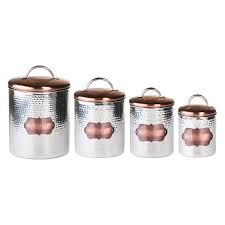 Rustic Kitchen Canister Sets by Global Amici Cucina Hammered Metal Canisters Walmart Com