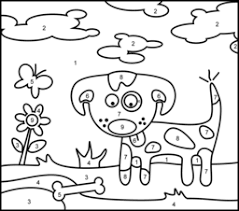 Color By Number Free Coloring Page Printable Dog