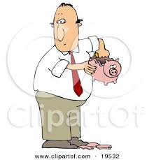 White Guy In A Business Suit Taking Coins Out A Broken Piggy Bank To Collect Enough Money To Support A Bad Habit