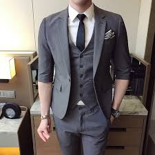MarKyi 2017 fashion half sleeve men suits and blazers slim fit