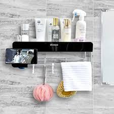 she s home badezimmer wand organizer mit handtuchstange dusch ablage wandmontage für badezimmer dusche organisation selbstklebende ecke