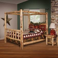 Furniture Barn USA™ Rustic Red Cedar Log Canopy Book Shelf Bed