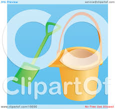 Clipart Illustration Of An Orange Beach Bucket And Shovel For Building I5quqq