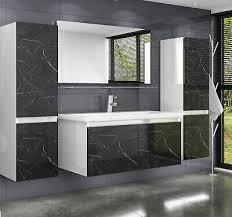 badmöbel set weiss marmor optik hochglanz badezimmermöbel 6 teilig 60 cm luuci ebay