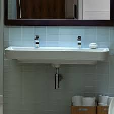 Trough Sink With Two Faucets by Grey Wall Mounted Backsplash With Simple Trough Bathroom Sink With