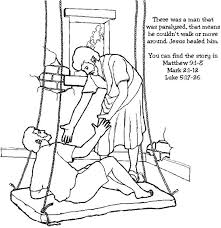 Miracles Of Jesus Healed Paralyzed Man Coloring Page