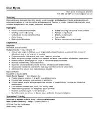 Resume Example For Nanny Job Position Featuring Six Years Experience In Childcare