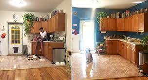 Kitchen Before And After Painting Blue