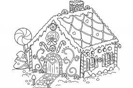 Christmas Gingerbread House Coloring Pages Printable Oloring With