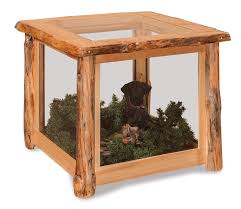 Amish Rustic Pine Log End Table Display Case