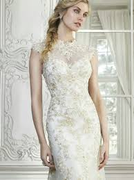 gold lace bridesmaid dress with high neck sang maestro