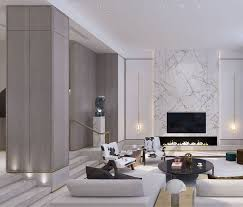 marble wall in the living room with low wide firep