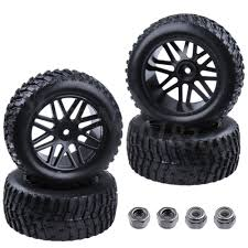 100 Rims Truck 4 Pieces 22 Inch RC Rally Rubber Tires Plastic Wheel